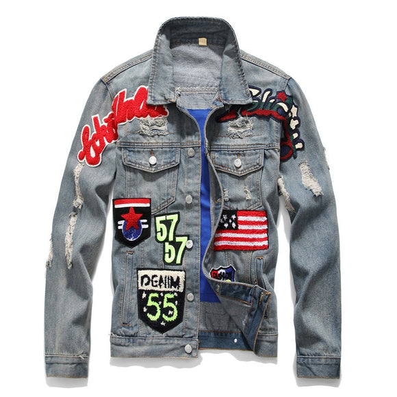 Men Denim Flag Graphic Jacket - ODDSALTBoutique