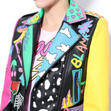 Graffiti Faux Leather Jacket Cropped Moto-Rainbow Lies - ODDSALTBoutique