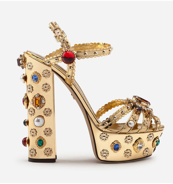 Retro Rhinestone Coated Platforms - ODDSALTBoutique