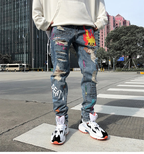 Men Graffiti Distressed Denim - ODDSALTBoutique