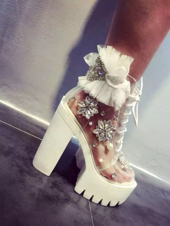 Clear Bling and Bows Platform Booties - ODDSALTBoutique