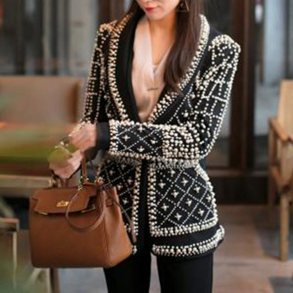 Beaded Long Sleeve Blazer - ODDSALTBoutique