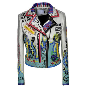 Graffiti Faux Leather Jacket Cropped Moto-Russian Vibes - ODDSALTBoutique