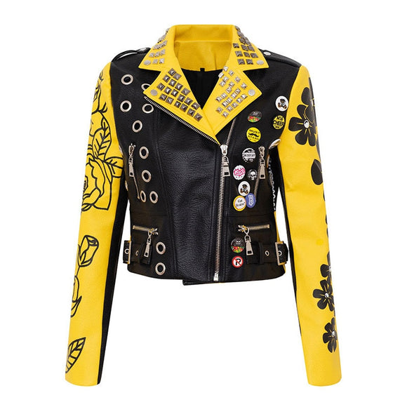 Graffiti Faux Leather Jacket Cropped Moto-Mellow Yellow - ODDSALTBoutique
