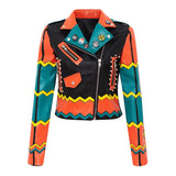 Graffiti Faux Leather Jacket Cropped Moto-Origins - ODDSALTBoutique
