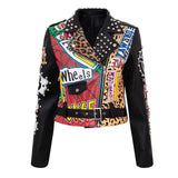 Graffiti Faux Leather Jacket Cropped Moto-Explore - ODDSALTBoutique