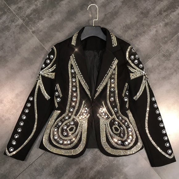 Pearls and Bling Wide Waist Blazer - ODDSALTBoutique