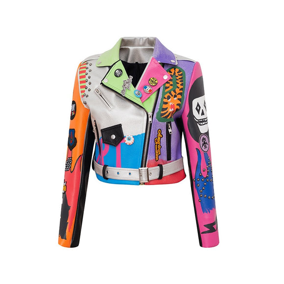 Graffiti Faux Leather Jacket Cropped Moto-Hard Times - ODDSALTBoutique