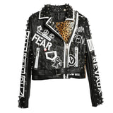 Graffiti Faux Leather Jacket Cropped Moto-Bad Kitty - ODDSALTBoutique