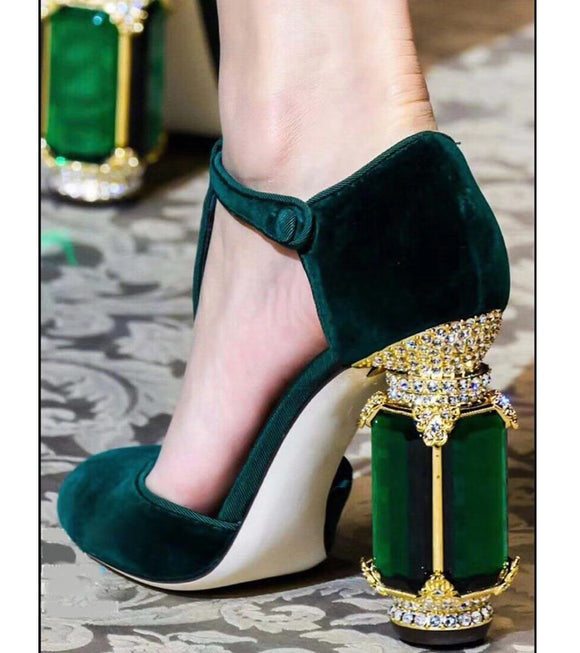 Chunky Jewel Suede Pumps - ODDSALTBoutique