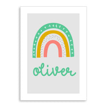 Load image into Gallery viewer, Rainbow Kids Personalised Name Print Green A4 / A5