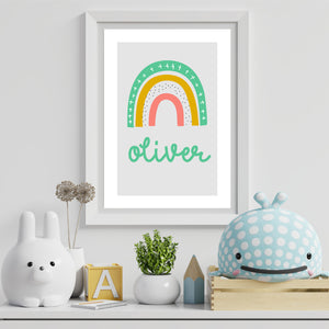 Rainbow Kids Personalised Name Print Green A4 / A5