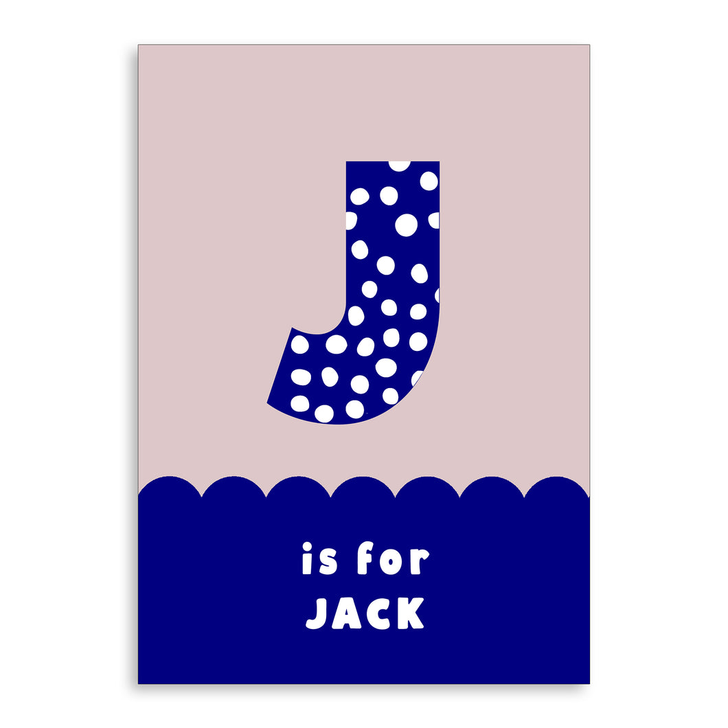 Spots & Scallops Kids Personalised Name & Initial Print Blue A4 / A5