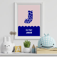 Load image into Gallery viewer, Spots & Scallops Kids Personalised Name & Initial Print Blue A4 / A5