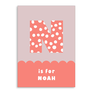 Spots & Scallops Kids Personalised Name & Initial Print Coral A4 / A5