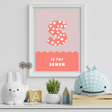 Load image into Gallery viewer, Spots & Scallops Kids Personalised Name & Initial Print Coral A4 / A5
