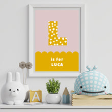 Load image into Gallery viewer, Spots & Scallops Kids Personalised Name & Initial Print Mustard A4 / A5