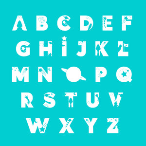 Space Kids Personalised Name Print Turquoise A4 / A5