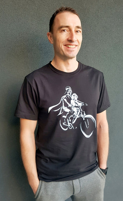 UNISEX - LUKE and Darth Mac Ride - Black Short Sleeve T-Shirt *Please see note below regarding shipping