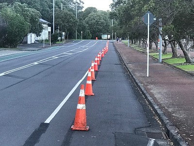 Pop up cycle lane, Auckland New Zealand