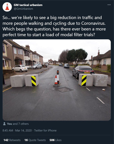 Tweet about trialling modal filters in response to the pandemic lockdown