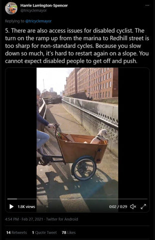 Switch back ramps can be a particular barrier for disabled cyclists