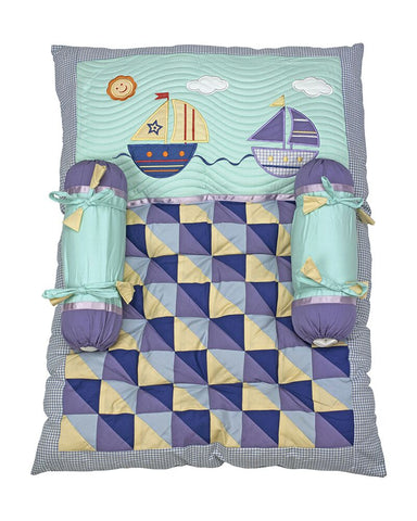 Blooming Buds Sailboat Mattress Set (Green & Blue)