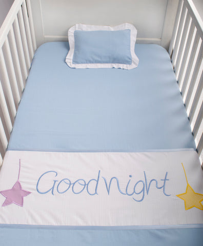 Blooming Buds Cot Sheet with Pillow - Sweet Lullaby Embroidery (Blue)