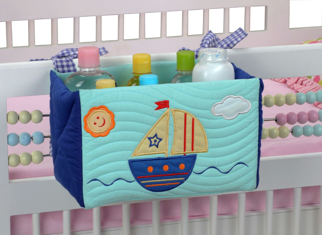 Blooming Buds Sailboat Cot Tidy/Essentials Organizer (Blue)