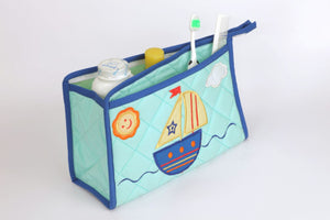 Blooming Buds Sailboat Printed Toiletry Bag - Blue