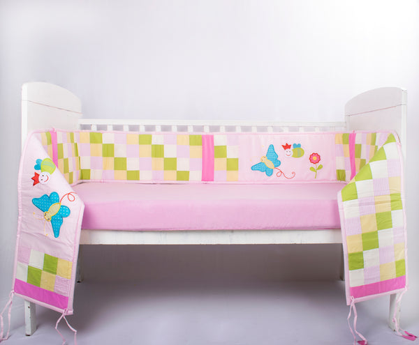 Blooming Buds Garden Daisy Full Cot Bumper (Pink)