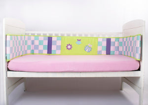 Blooming Buds Garden Accents Full Cot Bumper (Green & Pink)