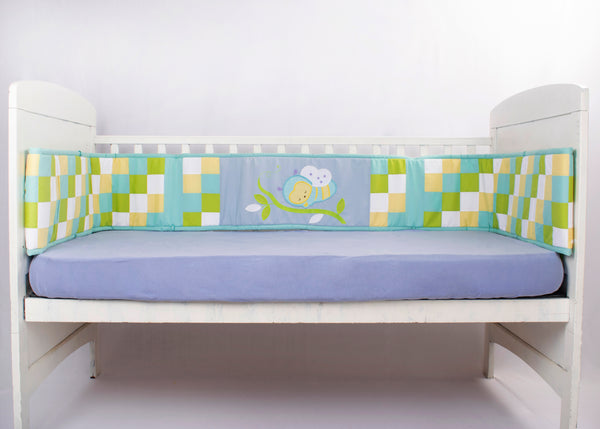 Blooming Buds Honey Bee Full Cot Bumper (Blue)