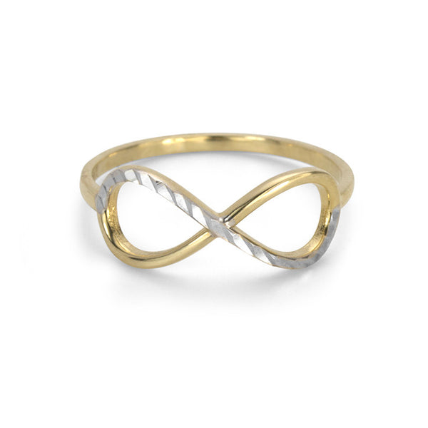 10K Yellow and White Gold Two Tone Infinity Ring
