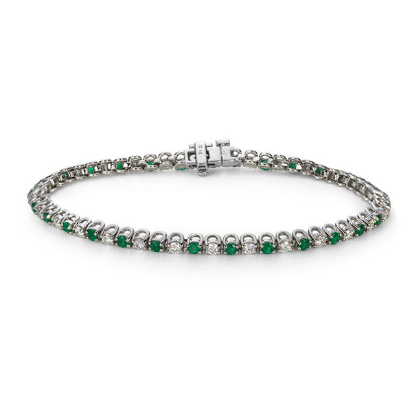 14K White Gold Emerald and Diamond Tennis Bracelet