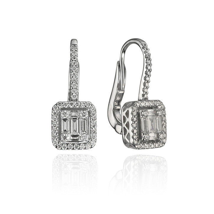 18K White Gold Diamond Halo Dangle Earrings