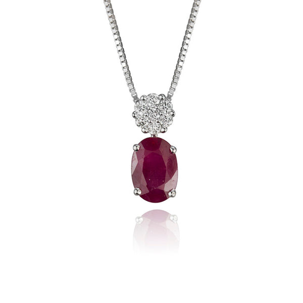 18K White Gold and Diamond Ruby Pendant
