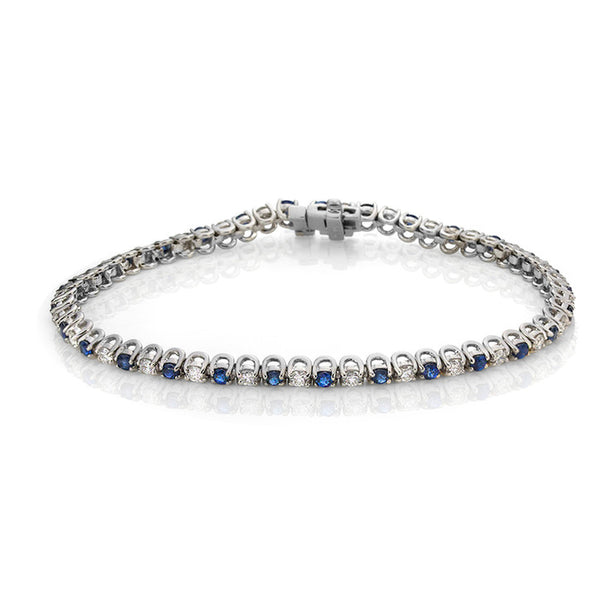 14K White Gold Sapphire and Diamond Tennis Bracelet