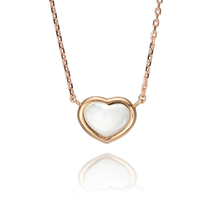 18K Rose Gold Mother of Pearl Heart Necklace