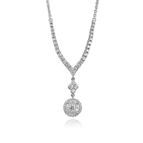 14K White Gold Diamond Drop Pendant
