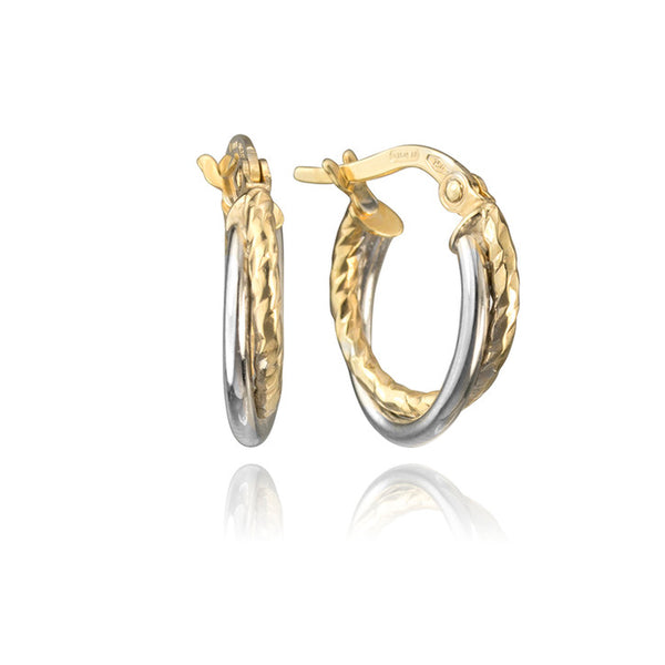 14K Yellow and White Gold Two Tone Hoop Earrings