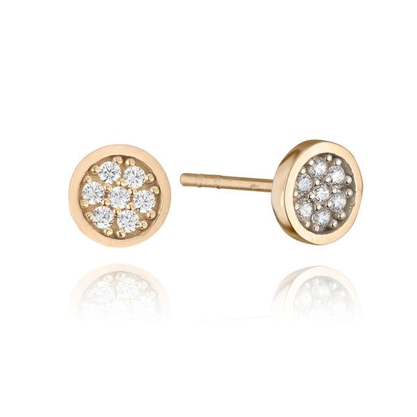 18K Rose Gold Cubic Zirconia Round Stud Earrings