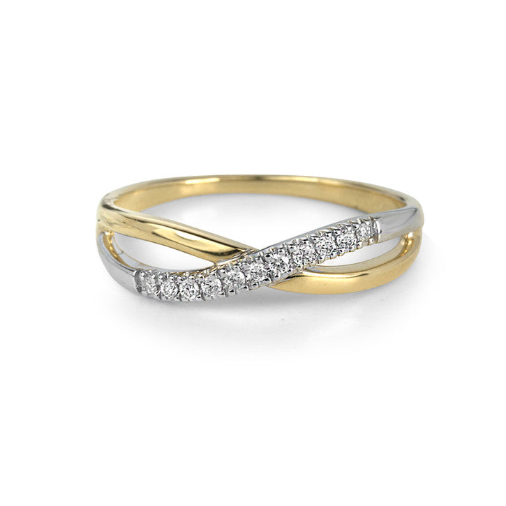14K Yellow and White Gold Split Shank Diamond Ring