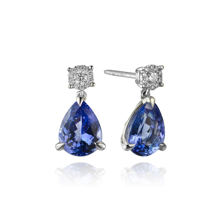 18K White Gold Tanzanite and Diamond Earrings