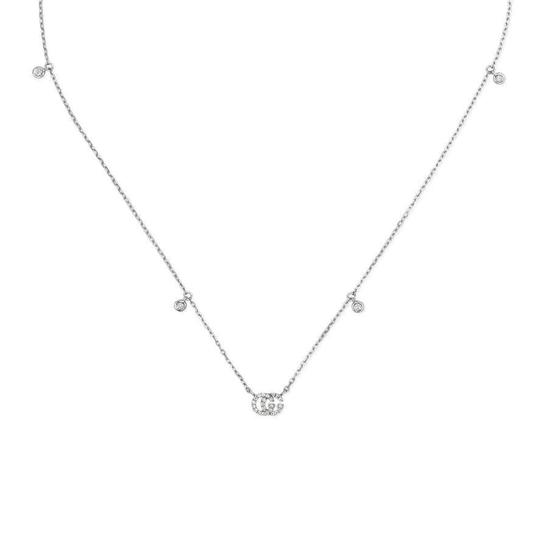 Gucci White Gold GG Running Diamond Necklace