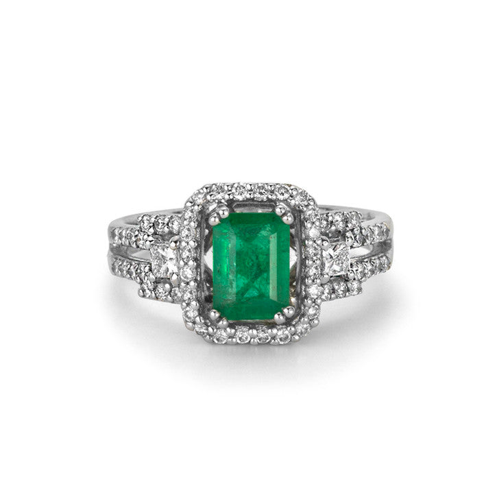 14K White Gold Emerald and Diamond Halo Ring