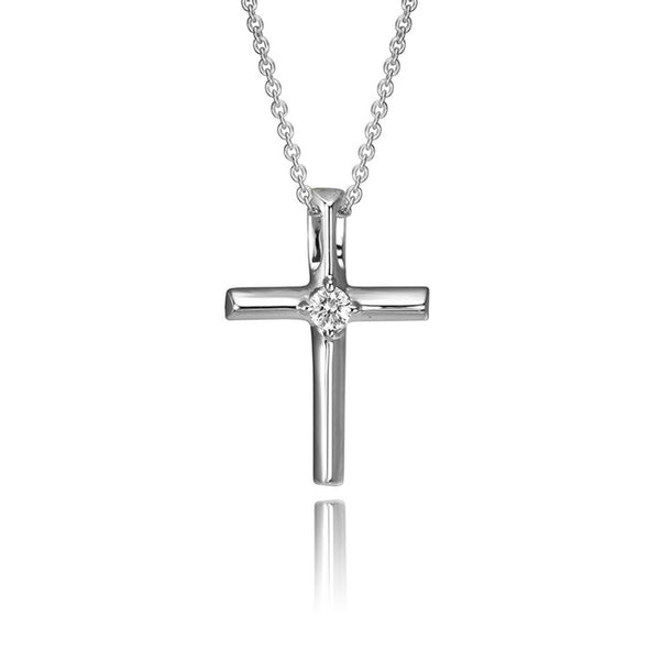 Pendant with chain 14K White Gold Diamond Solitaire Cross Pendant (TEC)