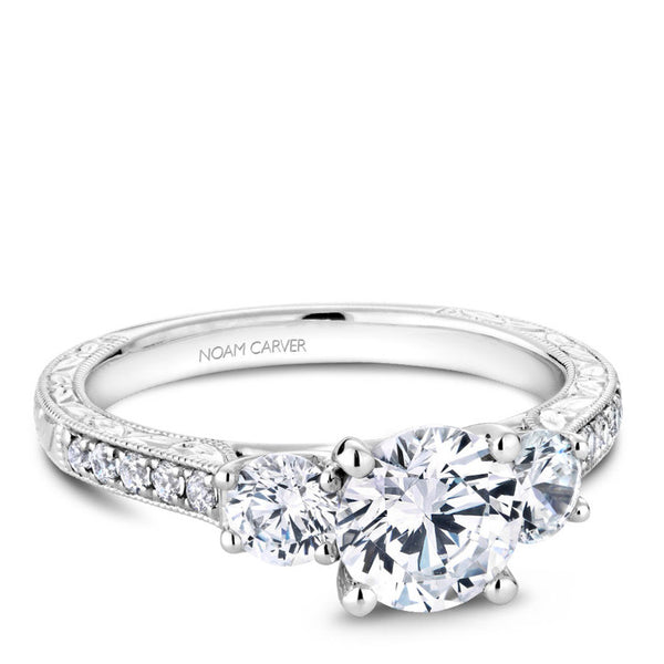Noam Carver 14K White Gold Diamond Engagement Ring (B206-01A)