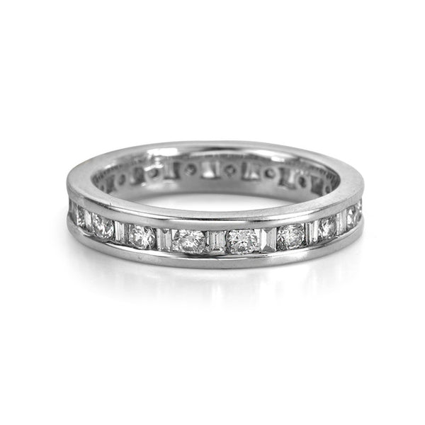 14K White Gold Channel Set Round and Baguette Diamond Ring