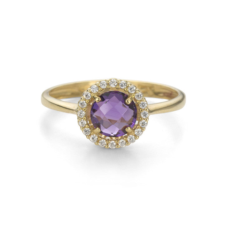 18K Yellow Gold Amethyst and Cubic Zirconia Halo Ring